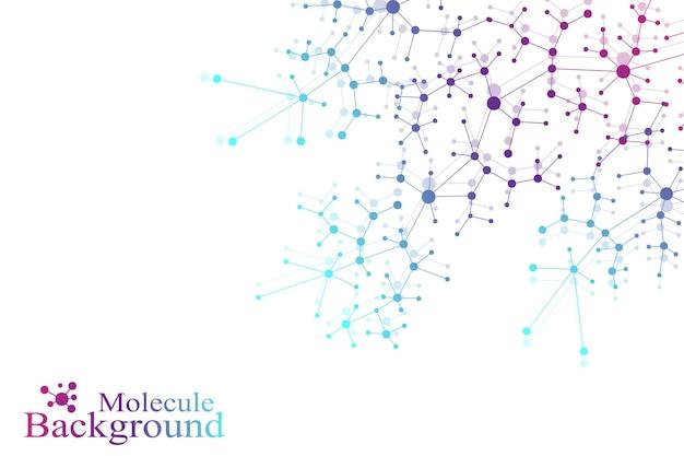 Struktura cząsteczki dna atomu i tła komunikacji. pojęcie neuronów. scince ilustracja cząsteczki dna i neuronów. system nerwowy. medyczne naukowe tło. ilustracja wektorowa.