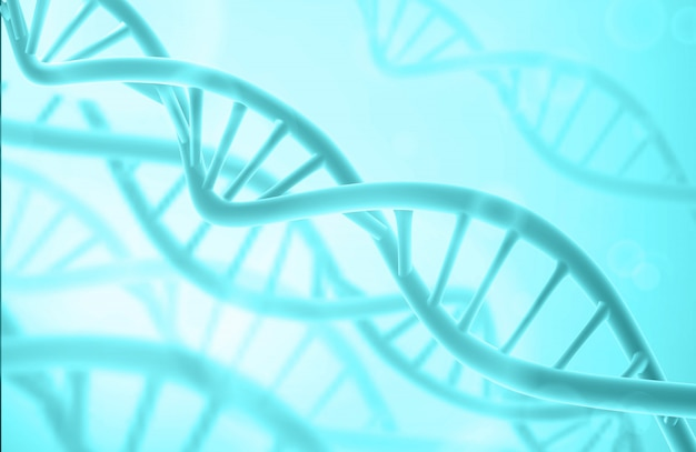 Struktura dna. streszczenie tło biotechnologii. podwójna helisa. niebieski kolor.