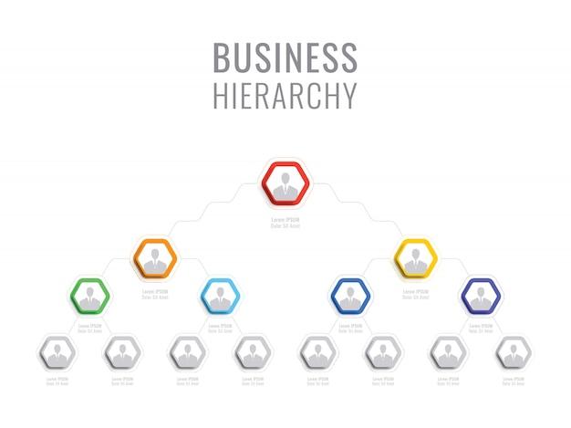 Struktura organizacyjna firmy. hierarchia biznesu infographic elementy heksagonalne. wielopoziomowa struktura zarządzania przedsiębiorstwem