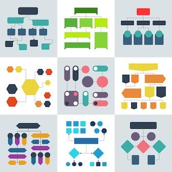 Strukturalne diagramy przepływu, schematy blokowe i struktury procesów przepływowych, elementy infografiki