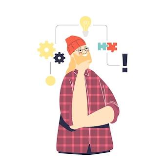 Strukturalny sposób myślenia: mężczyzna postać z kreskówki z osobowością kreatywnego logicznego myślenia, zdolnością do tworzenia nowych pomysłów i rozwoju startupów. płaska ilustracja wektorowa