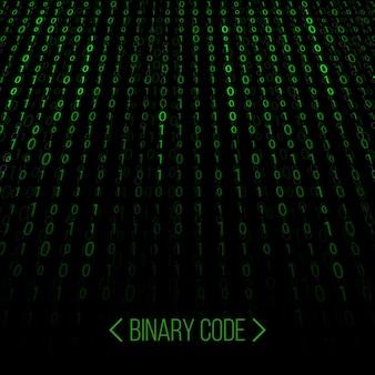 Strumień kodu binarnego. tło macierzy komputera.