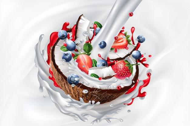 Strumień mleka, kokos z jagodami i truskawkami w jogurcie lub koktajl mleczny.