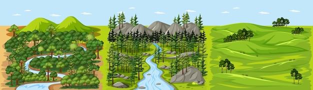 Strumień W Scenie Krajobrazu Leśnej Przyrody Darmowych Wektorów