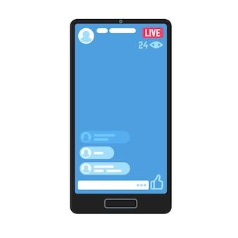Strumień wideo na żywo w telefonie. żywe strumienie wideo, historie online przesyłające strumieniowo aplikacje informacyjne na czacie na ekranie smartfona. witryna reklamująca treści do odtwarzania telewizji mobilnej
