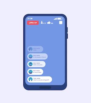 Strumień wideo na żywo ze smartfona. przesyłanie strumieniowe filmów wideo na telefon komórkowy za pomocą interfejsu użytkownika inspirowanego facebookiem.