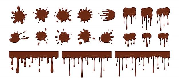 Strumienie czekolady kapią, kropelki. obecna rozpryski rozpuszczonej czekolady, dekoracyjne kształty płynów. kolekcja kształtów plam, krople rozprysków, płaskie odpryski z kreskówek. ilustracja na białym tle