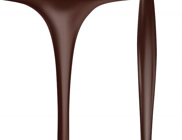Strumienie czekolady na białym tle.