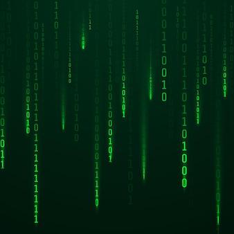 Strumienie kodu w kolorze zielonym świecą na ekranie