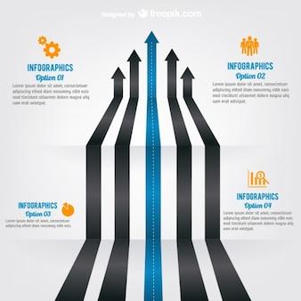 Strzałka drogowy infografika szablon