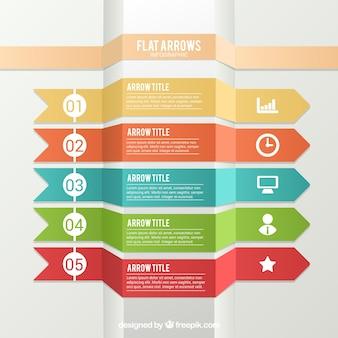 Strzałka kolekcja dla infografia w płaskiej konstrukcji