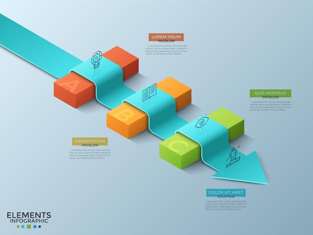 Strzałka leżąca na 3 kolorowych izometrycznych blokach, ikonach cienkich linii i polach tekstowych. koncepcja rozwiązywania problemów biznesowych, pokonywania przeszkód. szablon projektu nowoczesny plansza. ilustracja wektorowa.