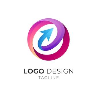 Strzałka litera e szablon logo firmy