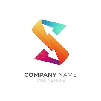 Strzałka litera s logo szablon projektu na białym tle
