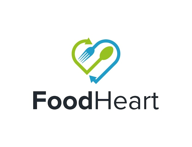 Strzałka miłości serca z widelcem i łyżką prosta, elegancka, kreatywna, geometryczna, nowoczesna konstrukcja logo