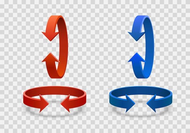Strzałka obrót 3d sztuki informacji czerwony kolor niebieski na przezroczystym tle. ilustracja wektorowa