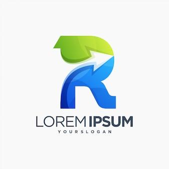 Strzałka r logo litery ikona czcionki