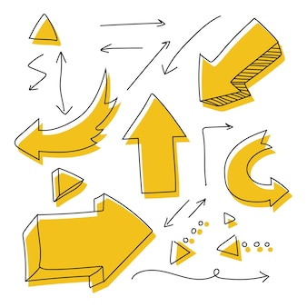 Strzałka ręcznie rysowane doodle wektor zestaw na białym tle na białej przestrzeni.