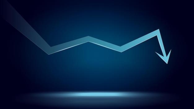Strzałka trendu spadkowego i cena spada z miejsca na kopię na ciemnoniebieskim tle. kryzys handlowy i krach. ilustracja wektorowa.