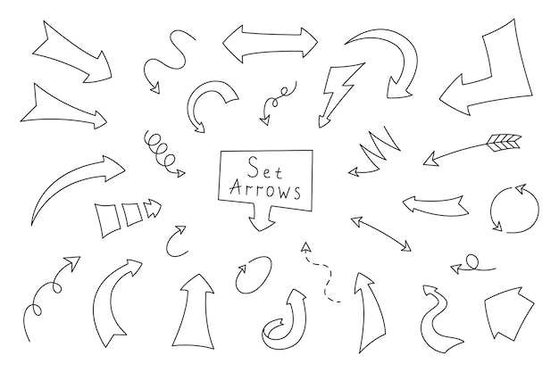 Strzałka w stylu cartoon. kolekcja strzałek ręcznie rysowane dla dekoracyjnego terminarza, dziennika i notatnika