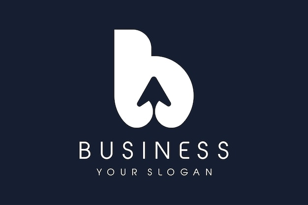 Strzałka z logo b. litera b projekt wektor ilustracja nowoczesna ikona.