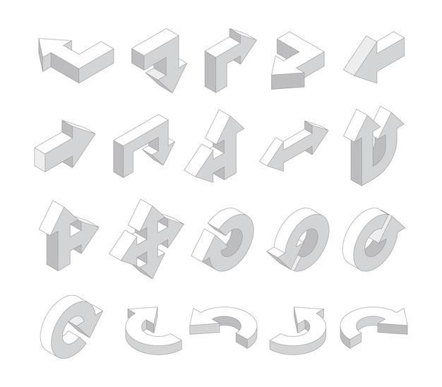 Strzałki 3d. zestaw izometryczny biały różne strzałki kierunkowe. ilustracja strzałki izometrycznej, zbiór interfejsu kierunku