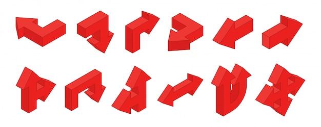 Strzałki 3d. zestaw izometrycznych czerwonych strzałek wielokierunkowych