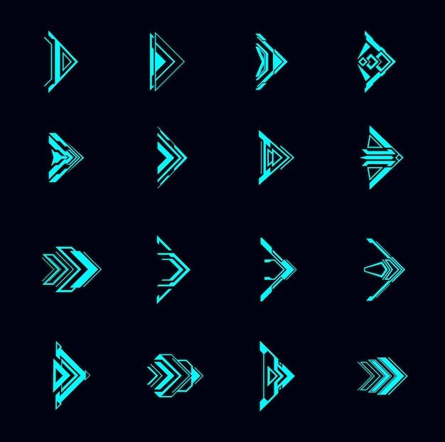 Strzałki hud, futurystyczne wskaźniki nawigacyjne, interfejs sci fi ui. cyfrowe elementy wektorowe w stylu techno. neonowe świecące przyciski do menu gier komputerowych lub aplikacji, zestaw nowoczesnych symboli graficznych kursora