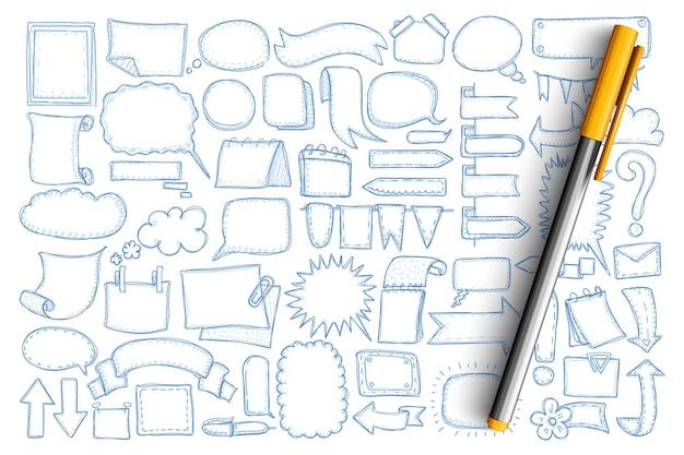 Strzałki i czat bombki doodle zestaw. zbiór ręcznie rysowane strzałki w różnych kierunkach, wskaźniki, flagi, bąbelki komunikacji wiadomości czatu i puste symbole na białym tle
