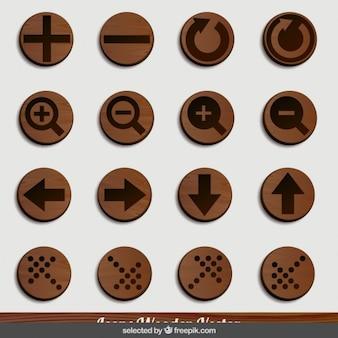 Strzałki i ikony zoom drewniane