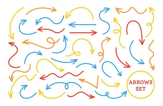 Strzałki jasny czerwony niebieski, żółty zestaw linii infographic. różne zakrzywione, łukowate, artystyczne nierówne strzałki kształtują kursor
