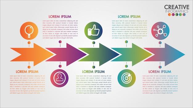 Strzałki pięć kroków oś czasu infografiki szablon krok po kroku, schemat wykresu