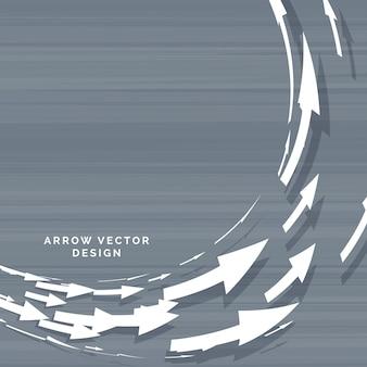 Strzałki poruszające się w koncepcji kształtu okrągłego kształtu