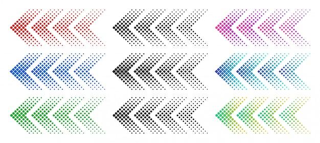 Strzałki rastrowe. kolor strzałki internetowej z kropkami. kolorowe kropkowane poruszające się do przodu i pobierz zestaw symboli na białym tle