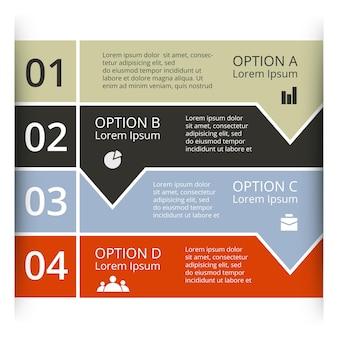 Strzałki wektor infografika szablon prezentacji diagram wykres 4 kroki części