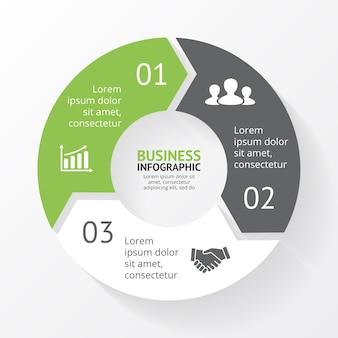 Strzałki wektor infografika szablon slajdu prezentacja schemat kołowy wykres z 3 krokami opcji