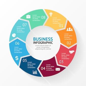 Strzałki wektor infografika szablon slajdu prezentacja schemat kołowy wykres z 8 krokami opcji