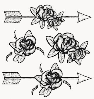 Strzałkowata strzelanina przez róży ilustraci.