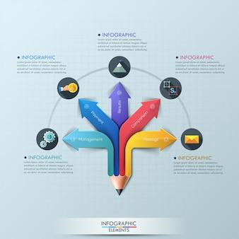 Strzałkowaty ołówkowy infographic projekta szablon