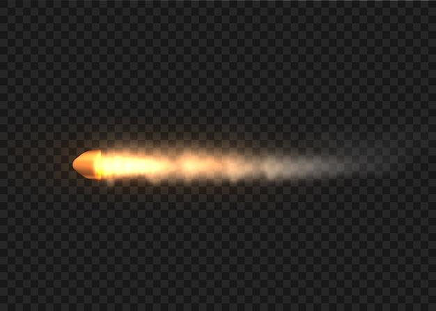 Strzały, pocisk w ruchu, smugi dymu. realistyczna kula latająca w ruchu. ślady dymu na białym tle. ślady strzelania z pistoletu.