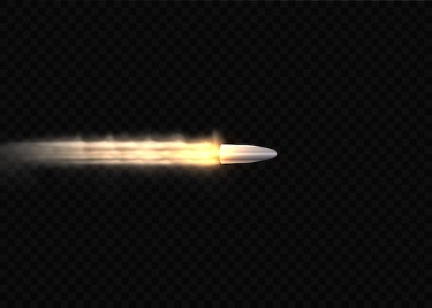 Strzały, pocisk w ruchu, smugi dymu. realistyczna kula latająca w ruchu. ślady dymu na przezroczystym tle. ślady strzelania z pistoletu.