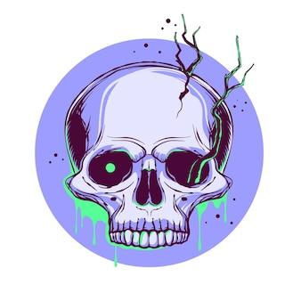 Strzaskana ludzka czaszka z wyrastającymi z niej gałęziami.