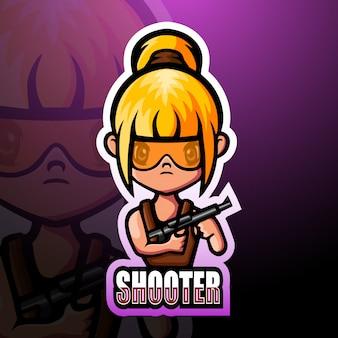Strzelająca dziewczyny maskotki esport ilustracja