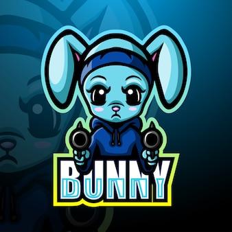 Strzelająca królika maskotki esportowa ilustracja