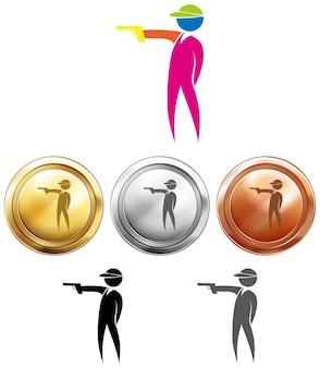 Strzelanie ikona i medale sportowe