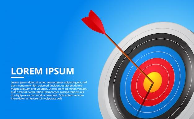 Strzelanie z łuku 3d i gra sportowa ze strzałkami. kierowanie na sukces biznesowy