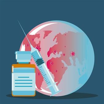 Strzykawka szczepionki i fiolki planety medycyny, ochrona przed ilustracją