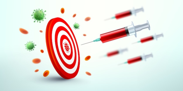 Strzykawka ze szczepionką covid-19 lecąca w kierunku tarczy. wektor sukcesu w odkryciu szczepionki przeciwko koronawirusowi covid-19