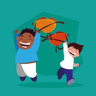 Studenccy chłopcy ze szkolną walizką, z powrotem do szkoły