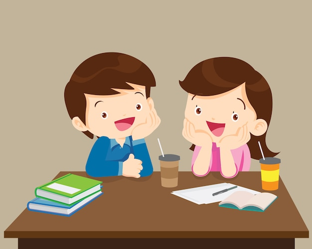 Studenci chłopiec i dziewczynka siedzi przyjazny